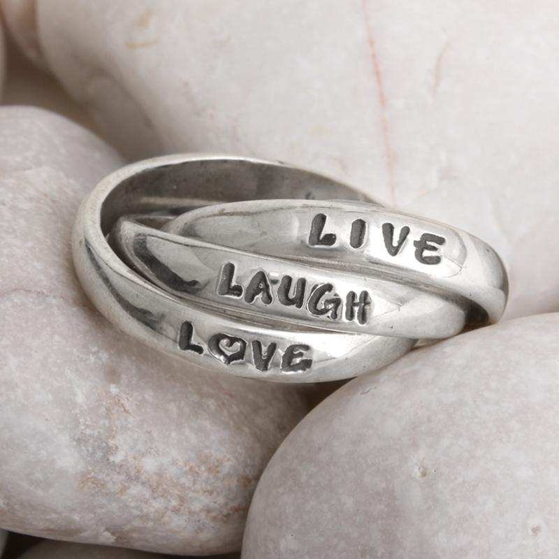 Live laugh love sterling silver ring