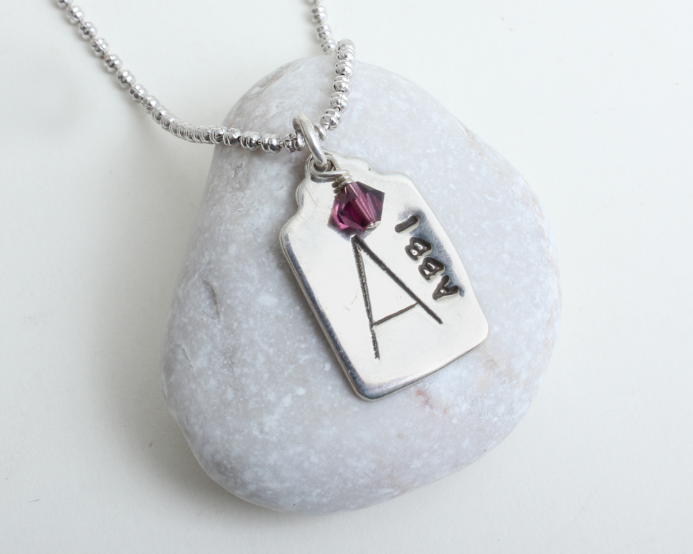 name and birthstone necklaces for new moms