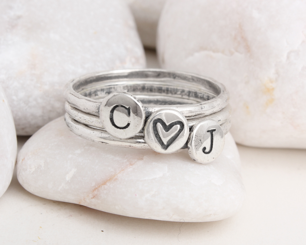 stackable silver initial rings