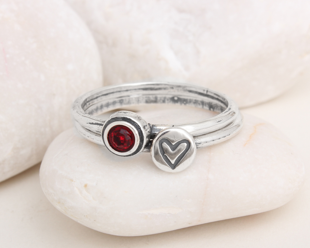 sterling silver heart and birthstone rings