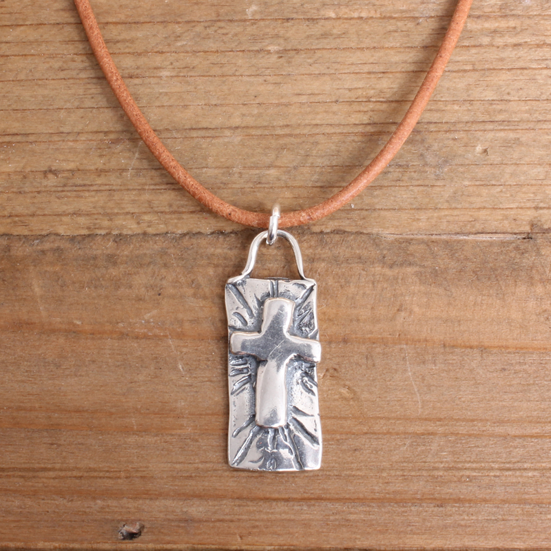 Sterling Silver Cross Necklace with Cord