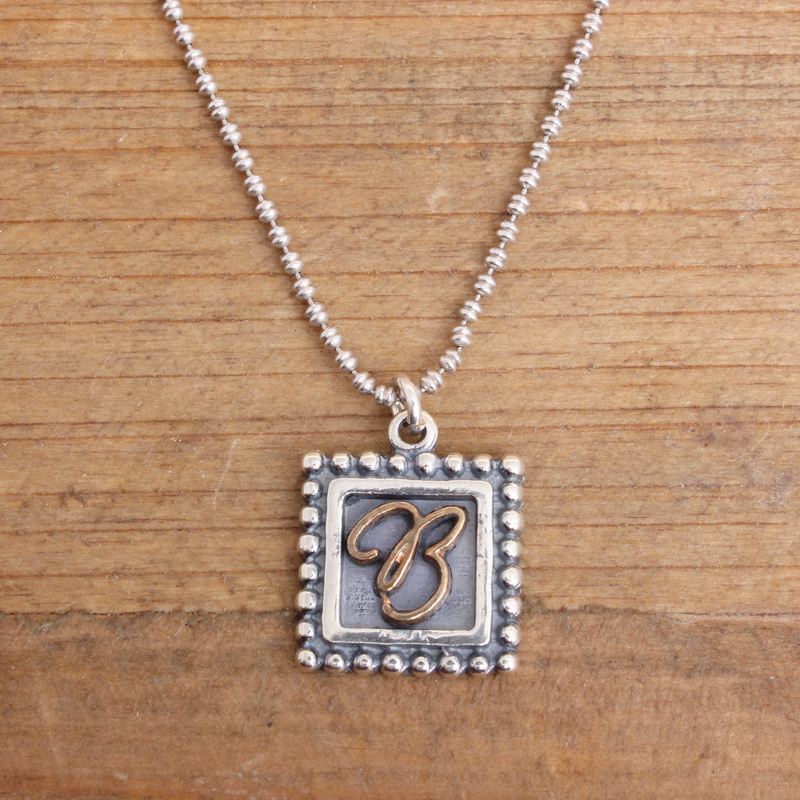 sterling silver initial necklace postage stamp