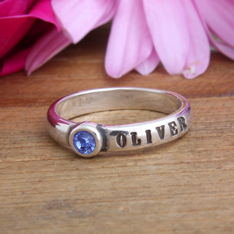 september birthstone name ring